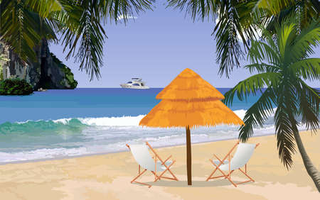 loungers: Sunny tropical beach with sun loungers and parasol Illustration
