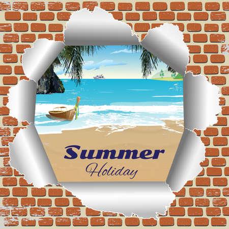 view wallpaper: view from broken brick Wallpaper on summer beach Illustration