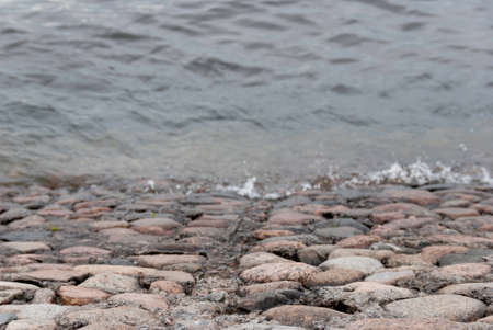 parapet: waves on the parapet of the embankment Stock Photo