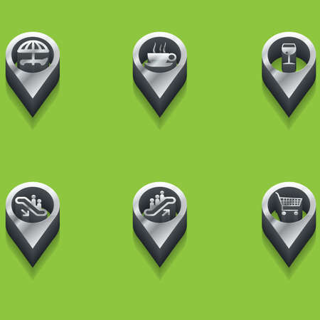 shopping champagne: black and white icons icons. isometric. Vector Illustration