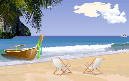 loungers: Sunny tropical beach with sun loungers, Vector