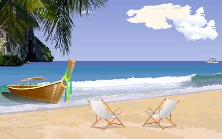 sun beach: Sunny tropical beach with sun loungers, Vector