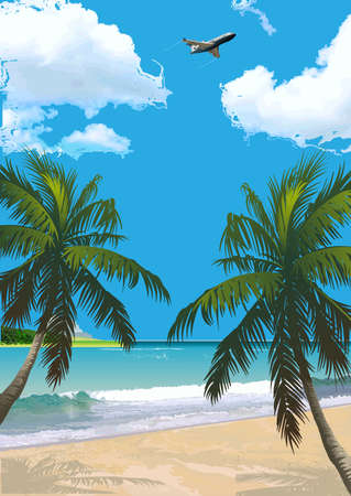 tropical beach panoramic: tropical beach with palm trees, clouds. Vector background