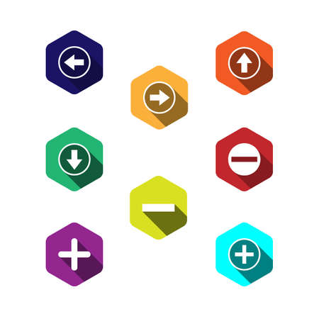 larger: set of colorful icons with arrows. flat design with long shadows.