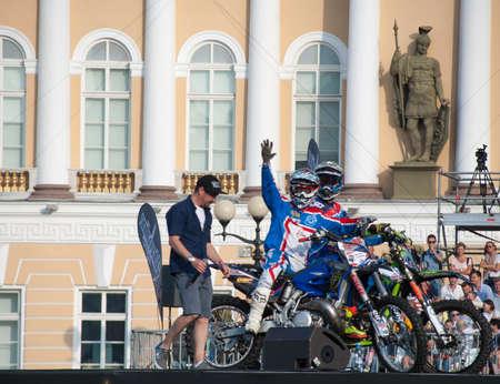 jule: Sankt-Petersburg, Russia - Jule 02, 2015: Motorcyclists welcome viewers, in St. Petersburg, Jule, 2015, Russia