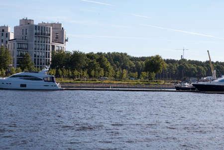 jule: Sankt-Petersburg, Russia - Jule 02, 2015: Yacht moored at the pier, in St. Petersburg, Jule, 2015, Russia Editorial