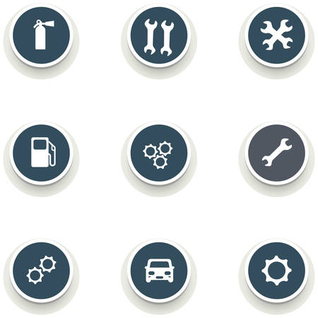car service: set of round icons with drop shadow. car service