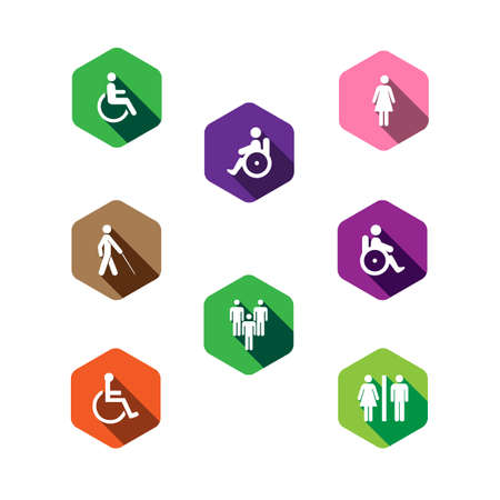 disability: set of medical icons in a flat design. disabled