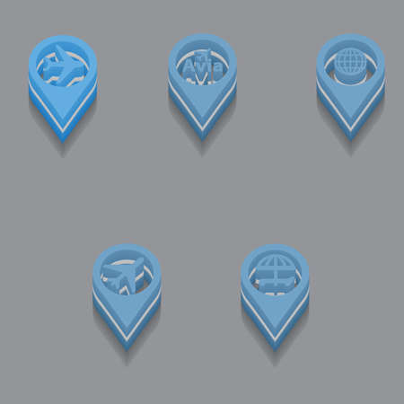 globus: set of travel icons in isometric style. Vector