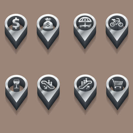 shopping champagne: black and white travels icons. isometric styles. Vector Illustration