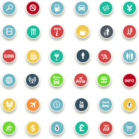 hair do: set of round icons information in a flat design