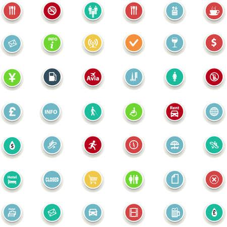 women smoking: set of round icons information in a flat design