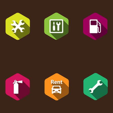icone tonde: set di icone rotonde con ombra. servizio auto
