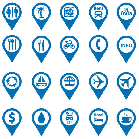 cruise travel: set of navigation icons on travel cards Illustration