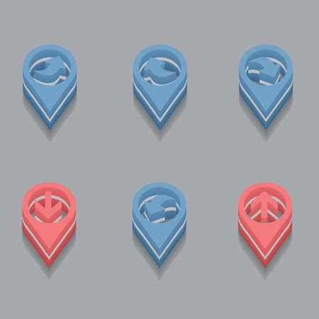 back link: set of arrows cursors in isometric