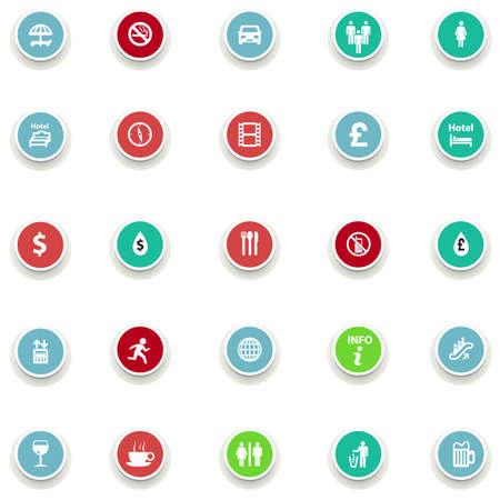 globe theatre: set of round icons information in a flat design