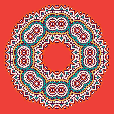 aristocratically: Ornamental colorful round floral ethnicity. Vector ornament