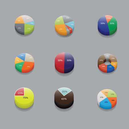 stat: set of 3D pie charts. business items and stat. Vector