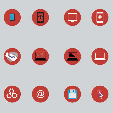 pont: set of computer icons in flat desigh. vector