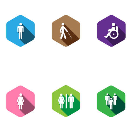 paralyze: set of medical icons in a flat design. disabled