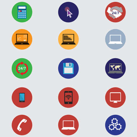 wifi access: set of computer icons in flat desigh. vector