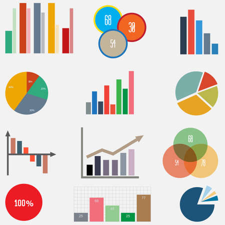 graph: set of charts and graphs for reports and statistics Illustration