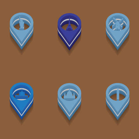 interface menu tool: set of travel icons in isometric style. Vector