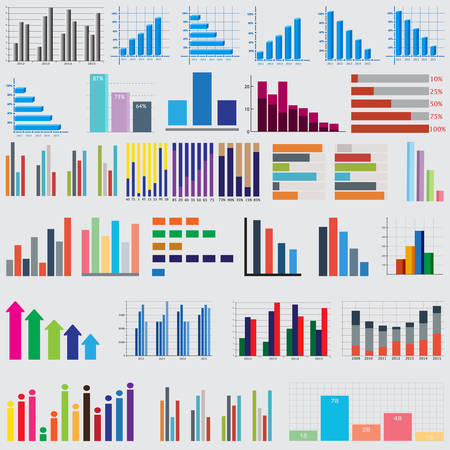 pie chart icon: set of charts and graphs for reports and statistics Illustration