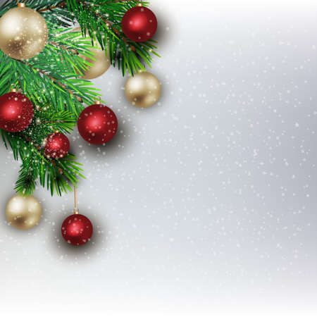 felicitation: Christmas background from fir twigs and colorful decorative Christmas balls Illustration