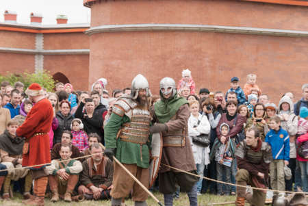 crusaders: Saint Petersburg, Russia - may 28, 2016: Preparation for the Vikings. Historical reenactment and festival on may 28, 2016, in Saint Petersburg, Russia Editorial