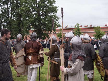 Saint Petersburg, Russia - may 28, 2016: Preparation for the Vikings. Historical reenactment on may 28, 2016, in Saint Petersburg, Russia Editorial