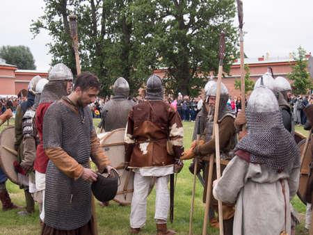cross armed: Saint Petersburg, Russia - may 28, 2016: Preparation for the Vikings. Historical reenactment on may 28, 2016, in Saint Petersburg, Russia Editorial