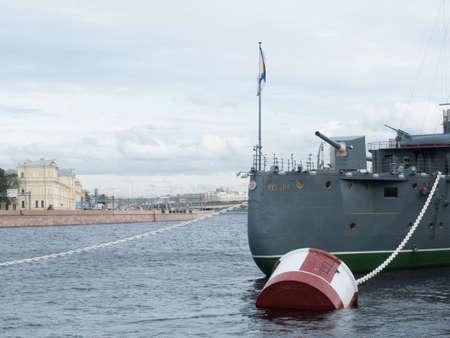 st petersburg: Saint Petersburg, Russia September 12, 2016: Bow gun of the Cruiser Aurora in Saint-Petersburg, Russia