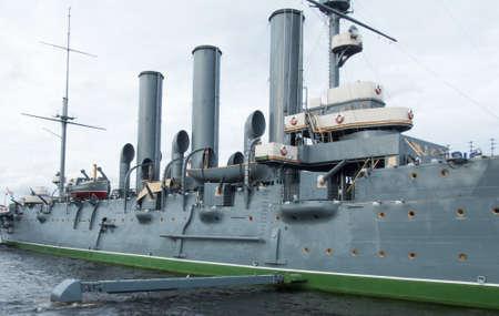 battleship: Cruiser Aurora on eternal parking. After the repair. Editorial