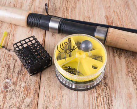 sinkers: fishing accessories. Spinning, feeder, round boxes hooks and sinkers