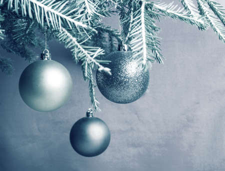 retro christmas: Festive Christmas background in retro style. Christmas ball on branch