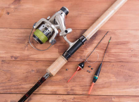 sinkers: Spinning with reel, fishing line floats and sinkers.