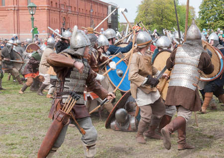 St. Petersburg, Russia - May 27, 2017: Demonstrative historical battle on the ancient weapons. Historical reconstruction of sword fighting in St. Petersburg, Russia Redakční