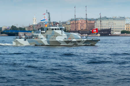 SAINT-PETERSBURG, RUSSIA - JULY 30, 2017: Counter-terrorist cutter Grachonok. The Naval Parade in St. Petersburg