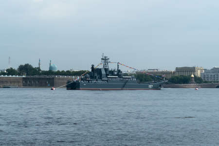 SAINT-PETERSBURG, RUSSIA - JULY 30, 2017: Russian Navy warship at the naval parade in St. Petersburg
