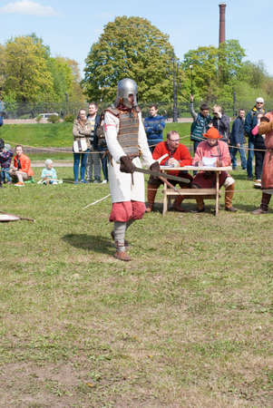 St. Petersburg, Russia - May 27, 2017: Historical reconstruction of sword fighting in St. Petersburg, Russia