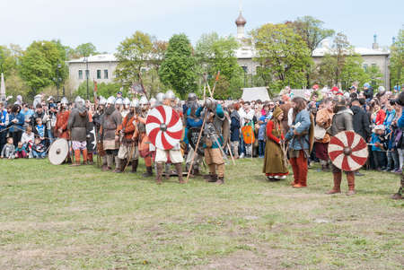St. Petersburg, Russia - May 27, 2017: Historical reconstruction of sword fighting. Demonstrative fight with swords in St. Petersburg, Russia