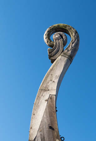 A close-up of the nose of a Viking ship.