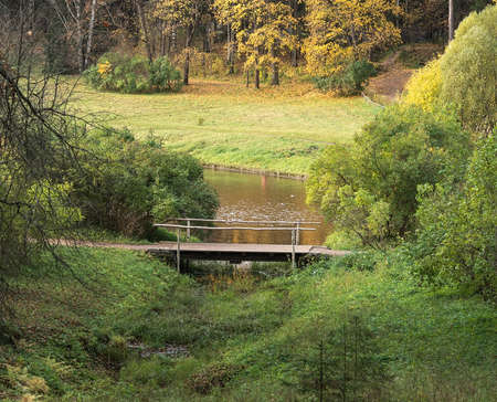 Wooden bridge over the river and autumn forest in the background