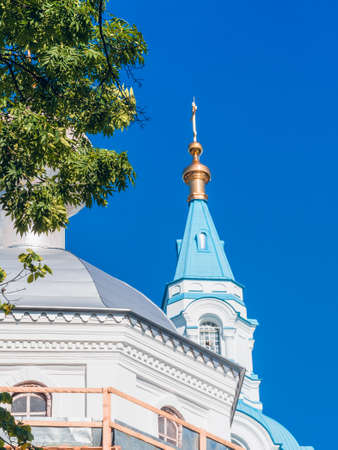 The bell tower of the Cathedral with a blue dome among tree crowns 스톡 콘텐츠