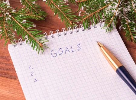 Notepad for writing resolution and goals for the New Year, spruce branches on a wooden background with copy space 免版税图像