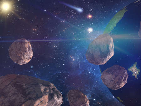 Large asteroids are approaching the earth. Existing danger of collision. Space landscape. Banco de Imagens
