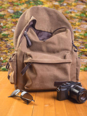 Backpack, camera and sunglasses with a background of autumn leaves. 写真素材