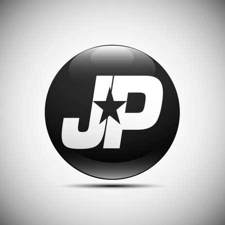 basic letters: Logo JP star white black