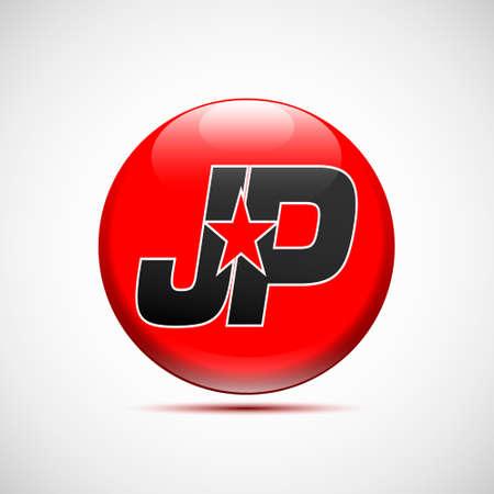 basic letters: A logo JP star black red in circular illustration.